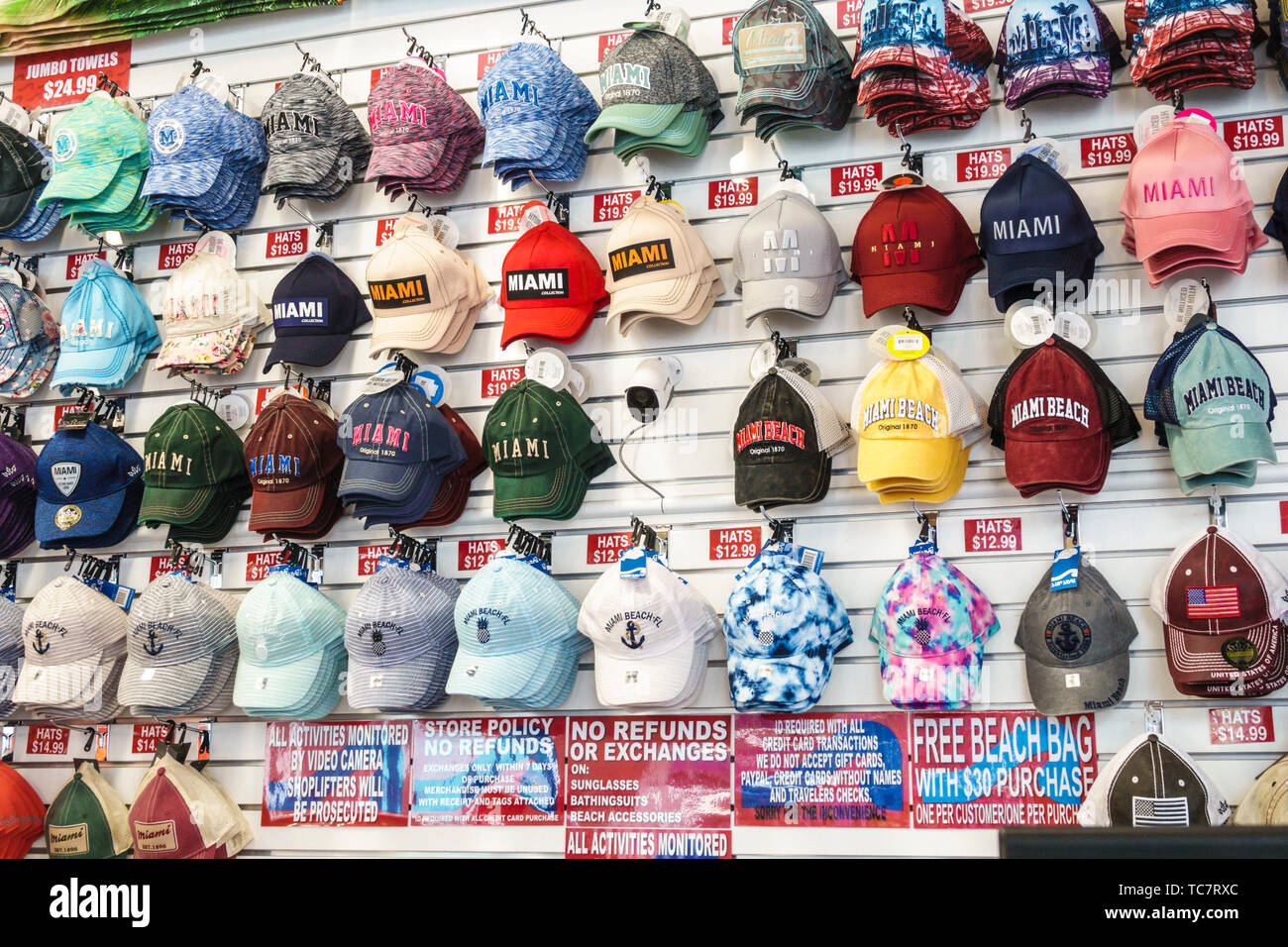 Miami Beach Florida Lincoln Road store inside hats caps display sale shopping - Stock Image
