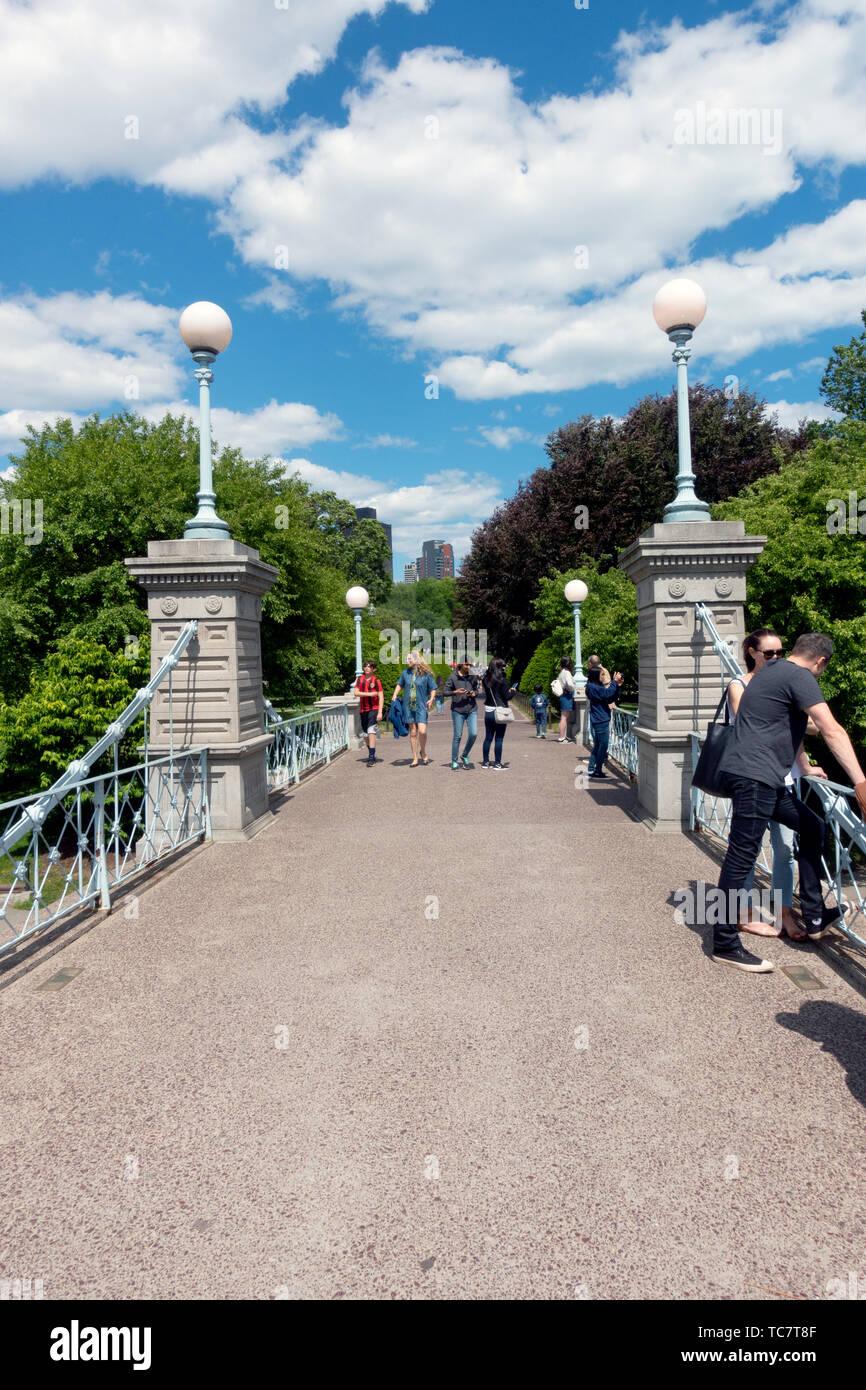 Bridge over Lagoon in the Boston Public Garden Stock Photo