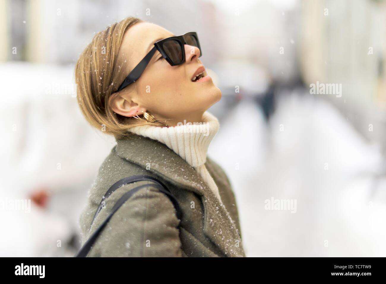fashionable German woman, in Munich, Germany. - Stock Image