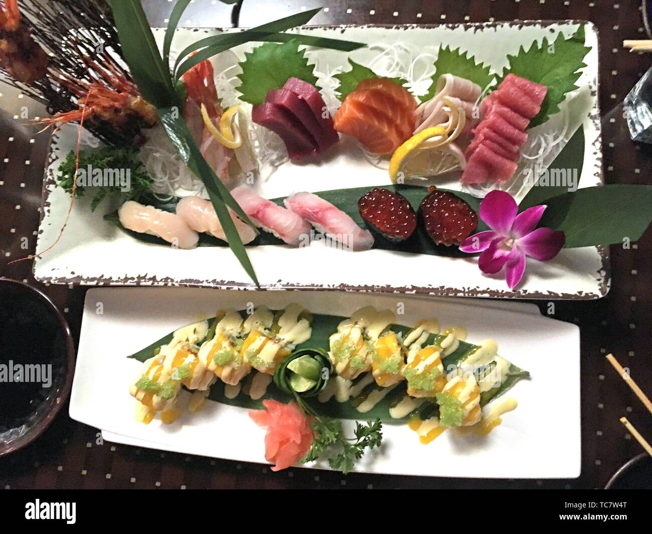 Plate Of Sushi And Sashimi In Restaurant Zen Boston