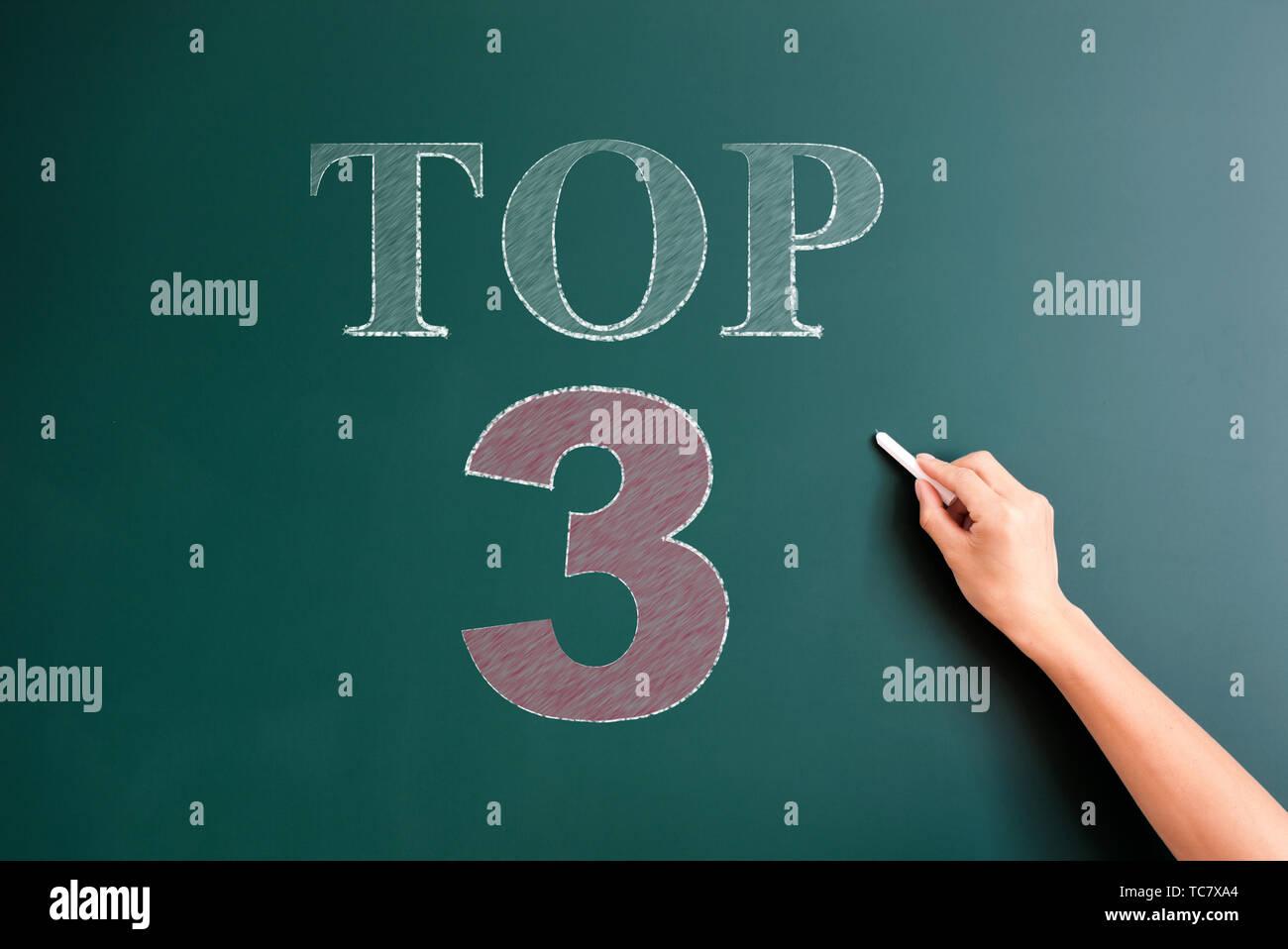 top 3 written on blackboard - Stock Image