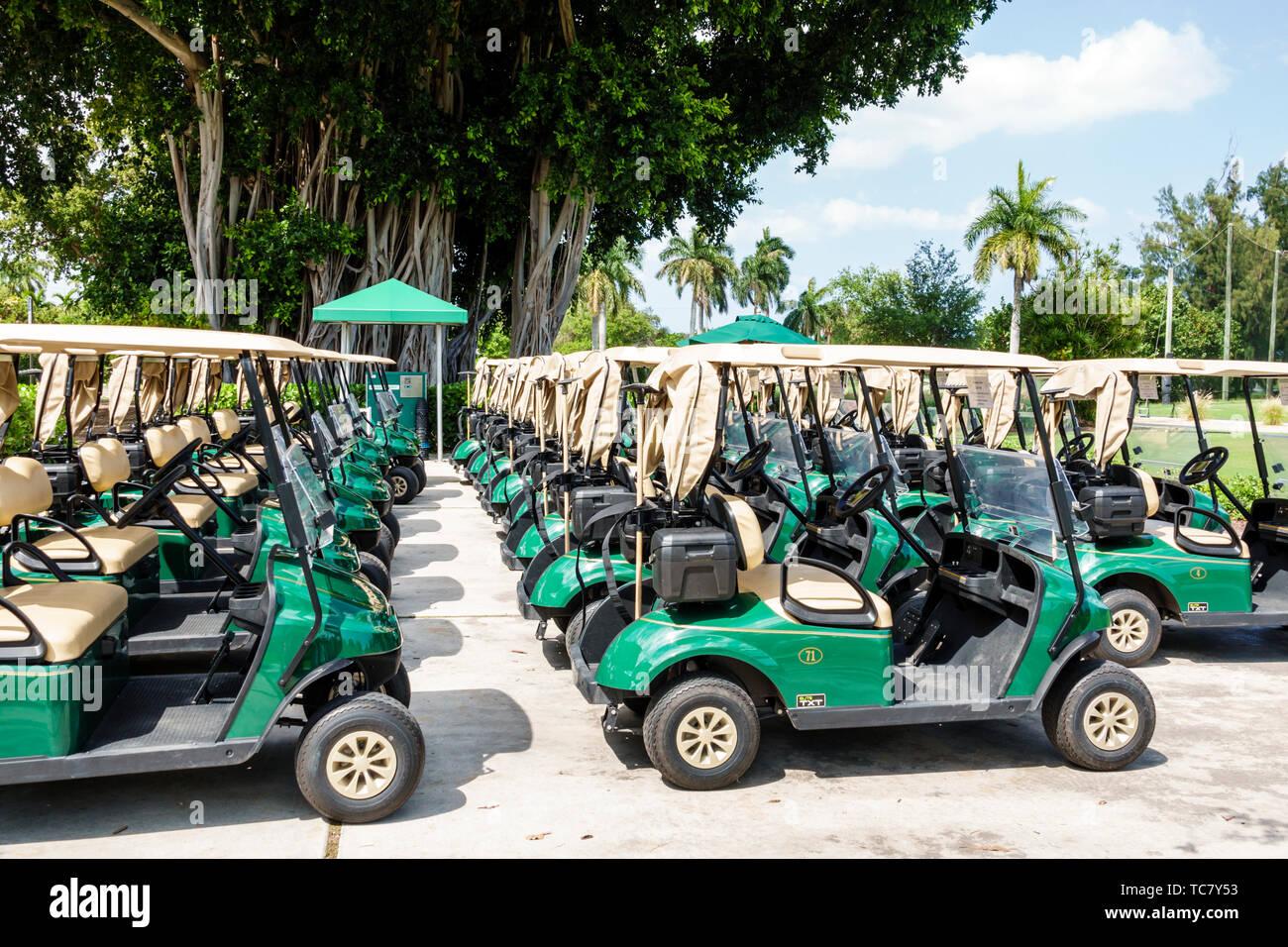 Miami Beach Florida Normandy Shores Public Golf Club Course electric cart carts - Stock Image