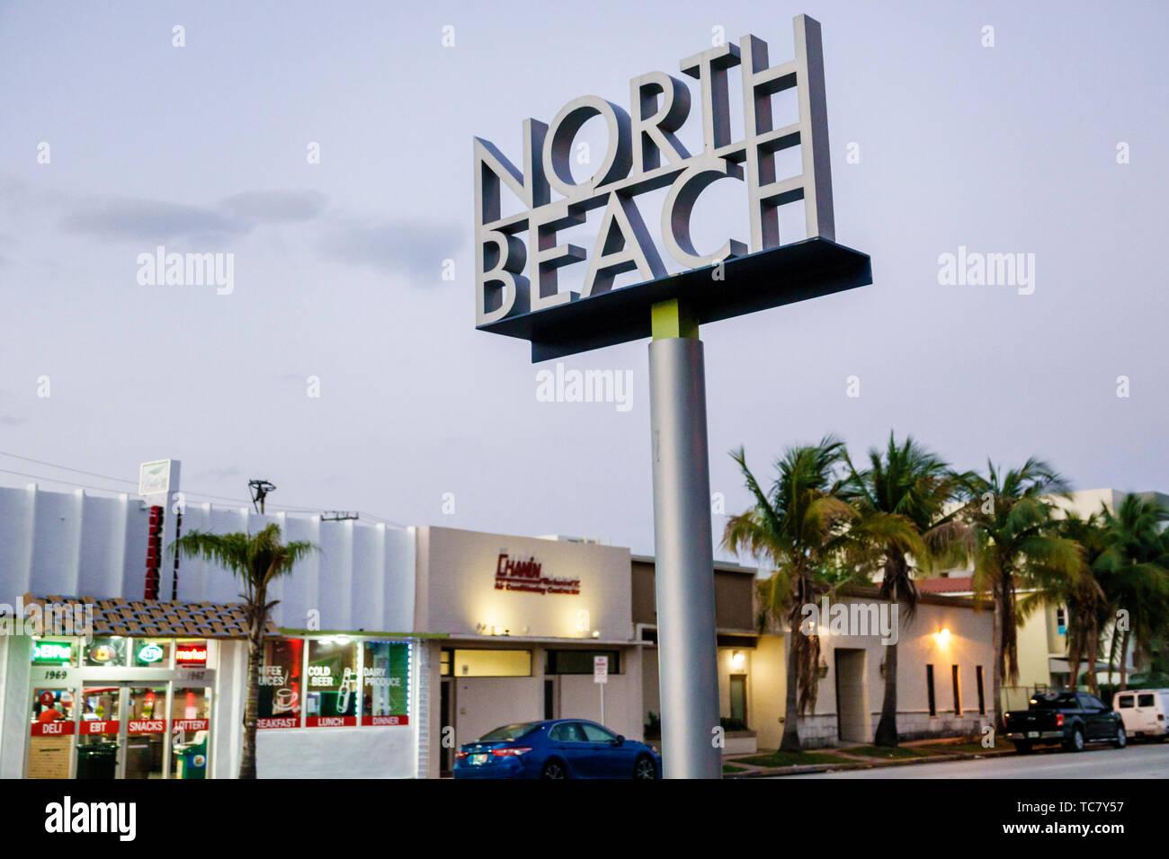 Miami Beach Florida North Beach Normandy Isle 71st Street sign - Stock Image