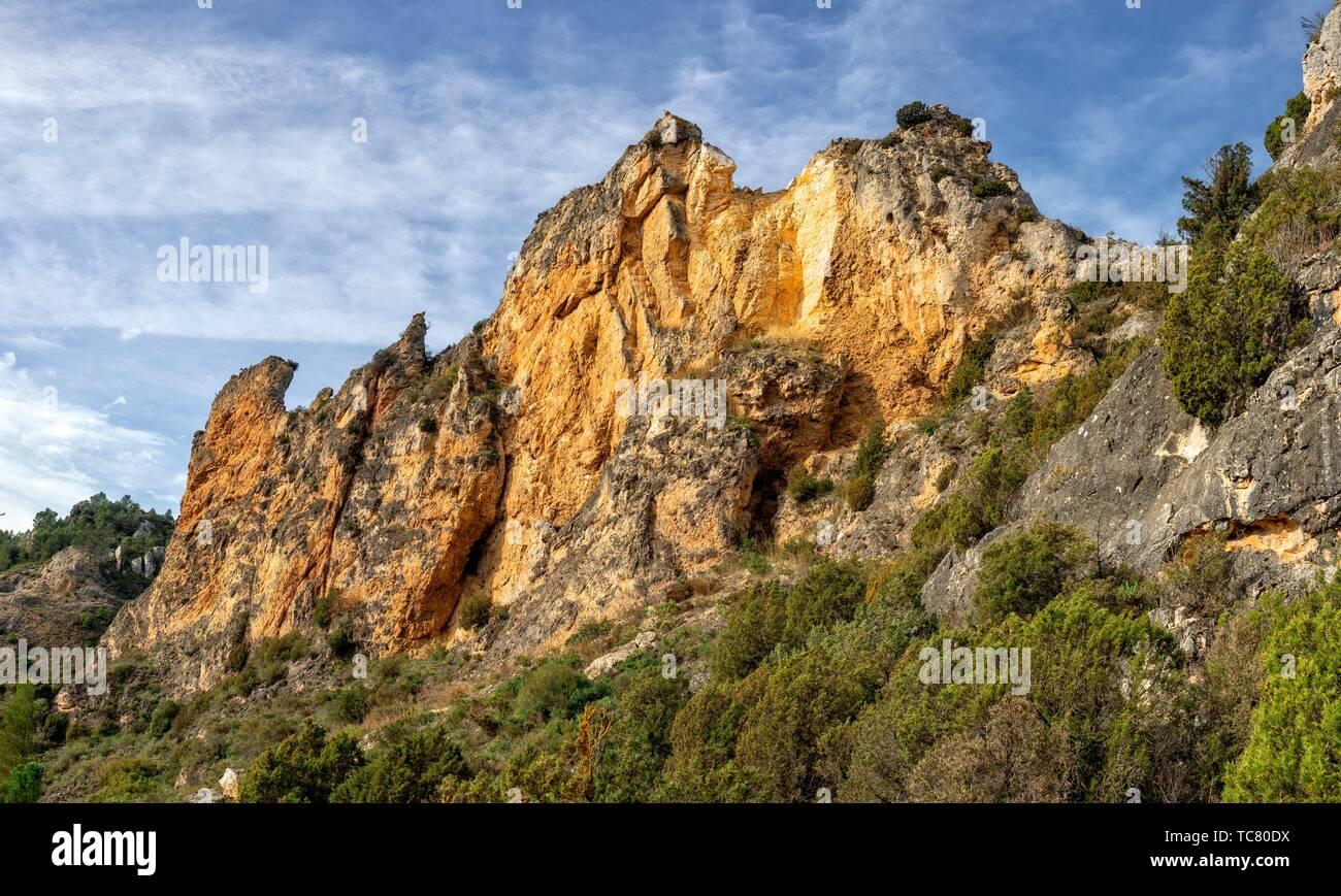 Rocks pano at St. Felices La Rioja. Spain. - Stock Image