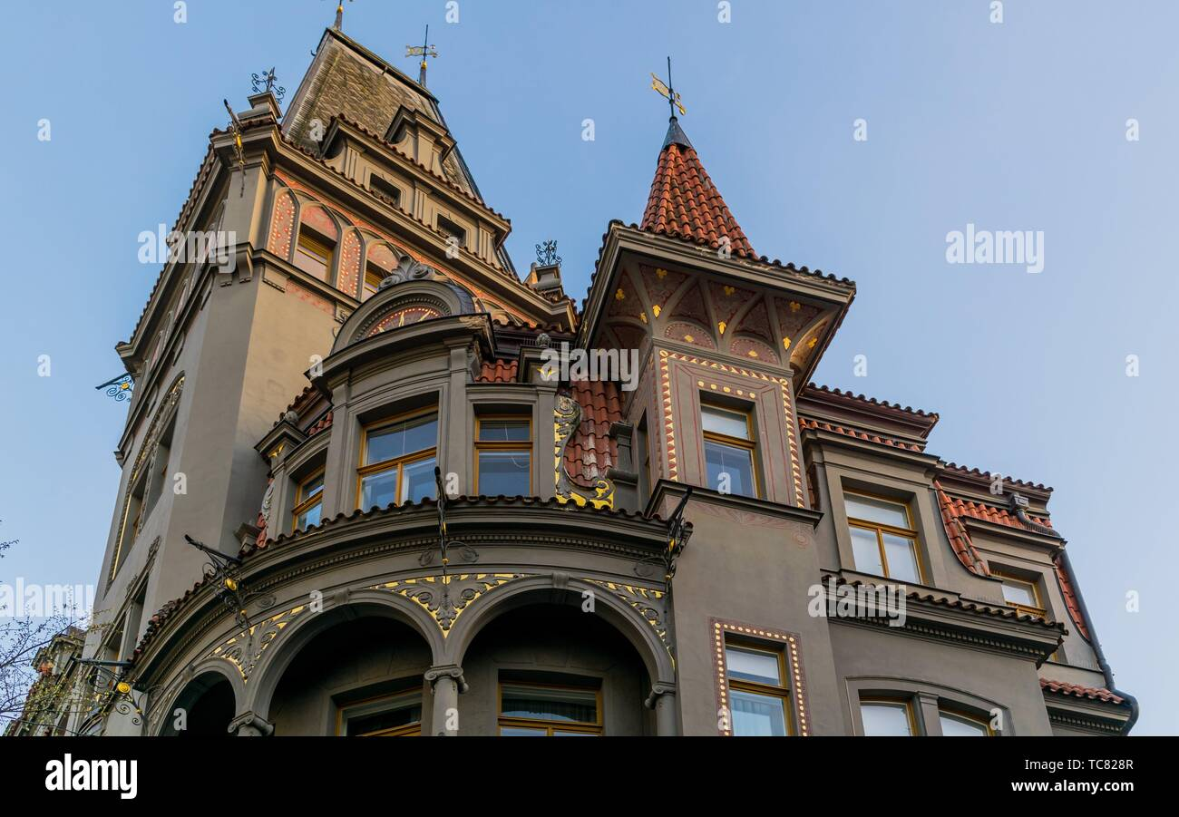 Facade of a jew building in Parížská street, Prague, Cezch Republic - Stock Image
