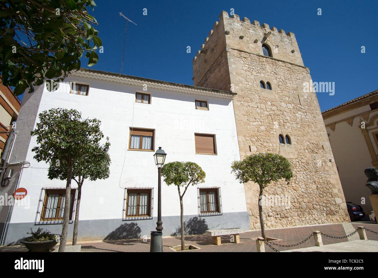 San Clemente town in Cuenca Castile La Mancha Spain. The old tower. Stock Photo