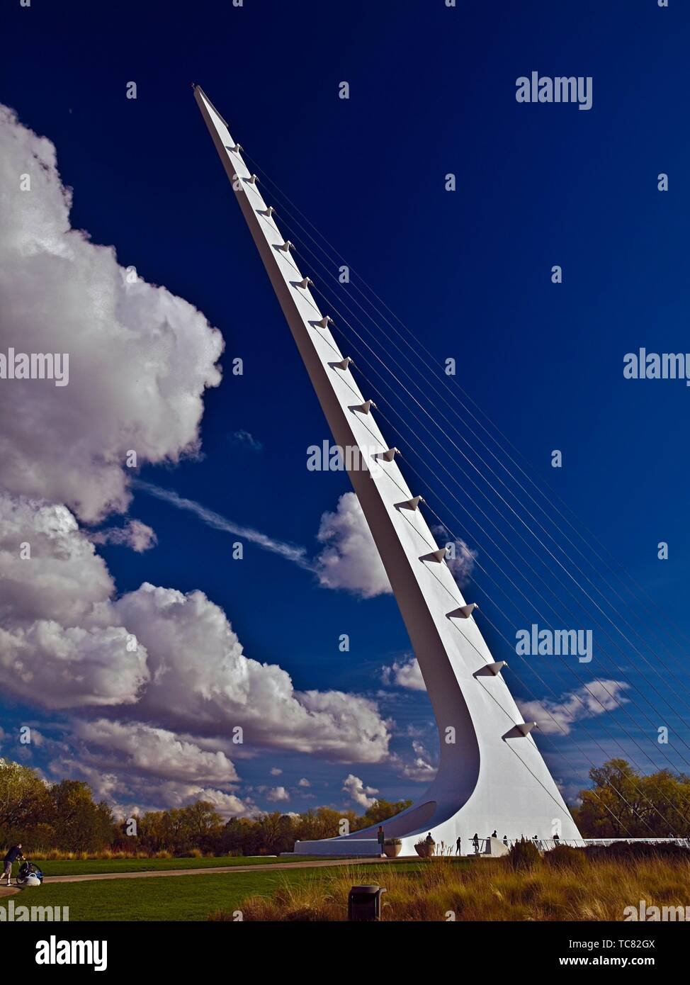 Sundial Bridge in Redding, California. This 710 foot span crosses the Sacramento River, and forms a working sundial. The glass decked bridge is used - Stock Image