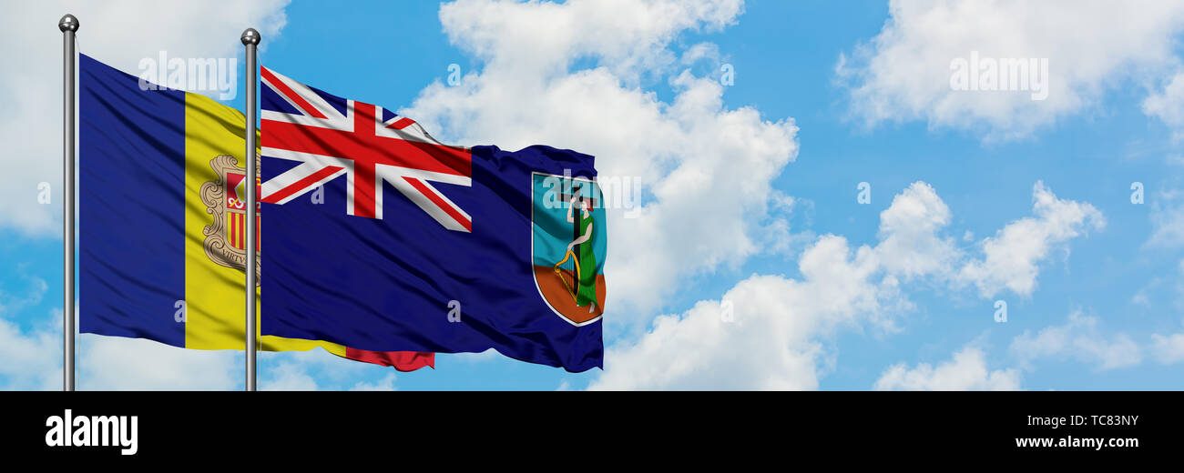 Andorra and Montserrat flag waving in the wind against white cloudy blue sky together. Diplomacy concept, international relations. Stock Photo