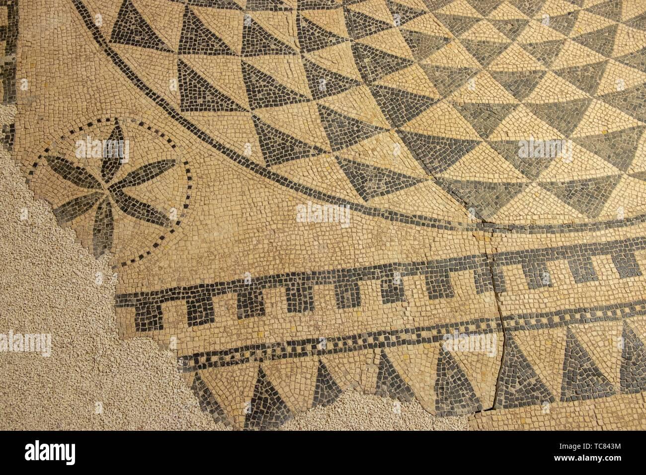 mosaico de la vivienda de Caius Lulius Silvanus, siglo III, Museo-Centro de Interpretación del parque arqueológico de Segóbriga, Saelices, Cuenca, Stock Photo