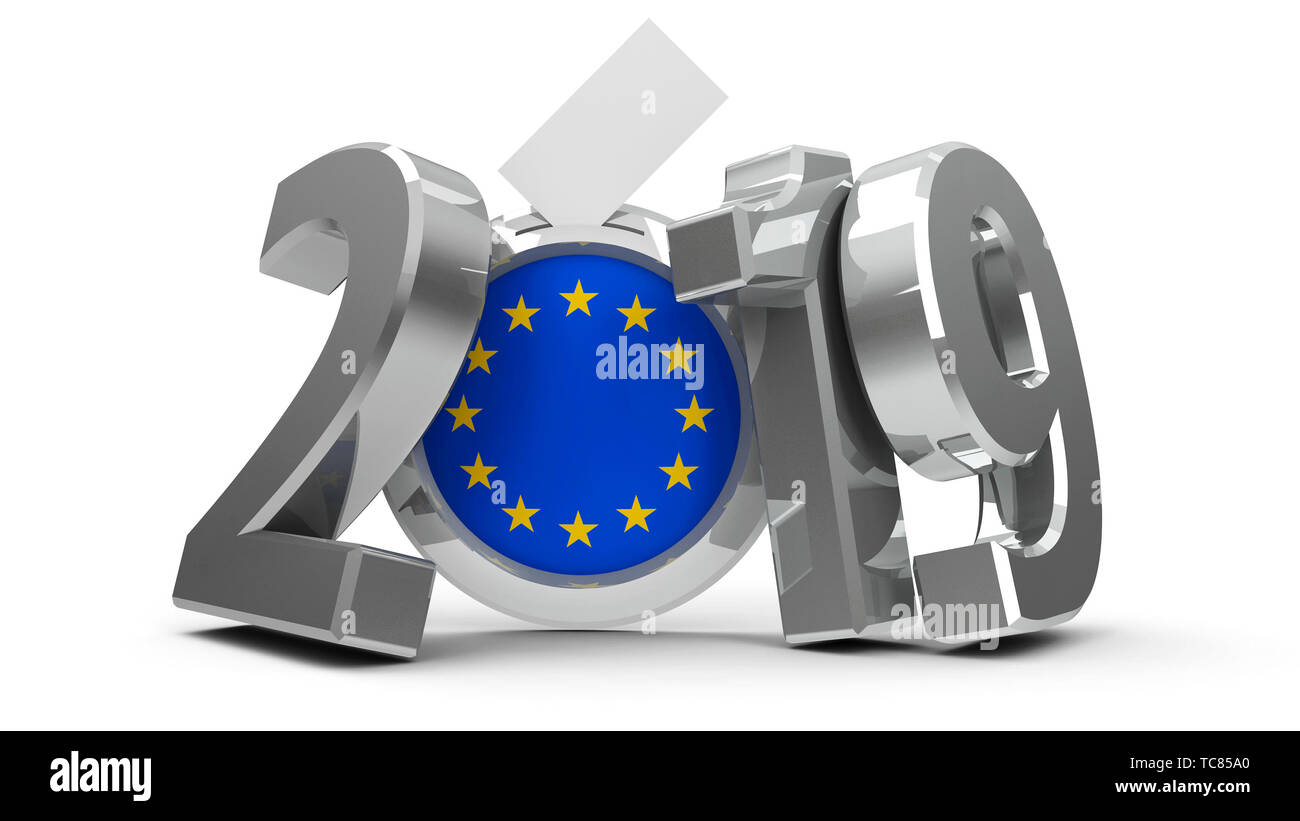 Figures 2019 with european union flag badge isolated on white background, represents European Parliament election 2019, three-dimensional rendering, 3 - Stock Image