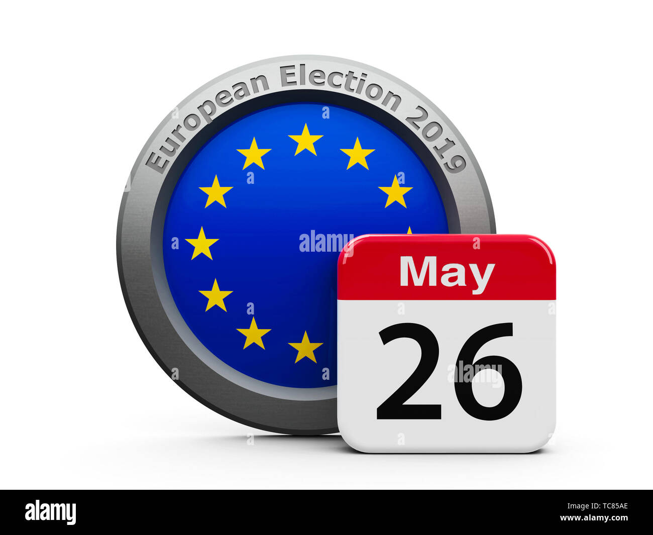 Emblem of European Union with calendar button - The Twenty Sixth of May - represents the European Parliament election 2019, three-dimensional renderin - Stock Image