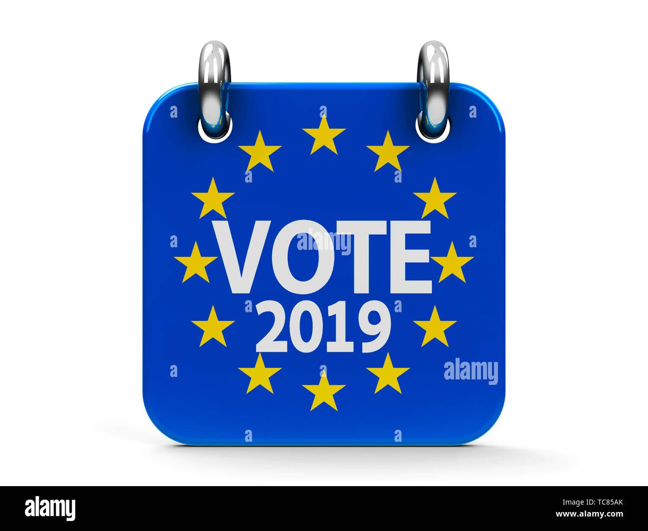 Vote election 2019 calendar icon as european union flag - represents the European Parliament election 2019, three-dimensional rendering, 3D illustrati - Stock Image