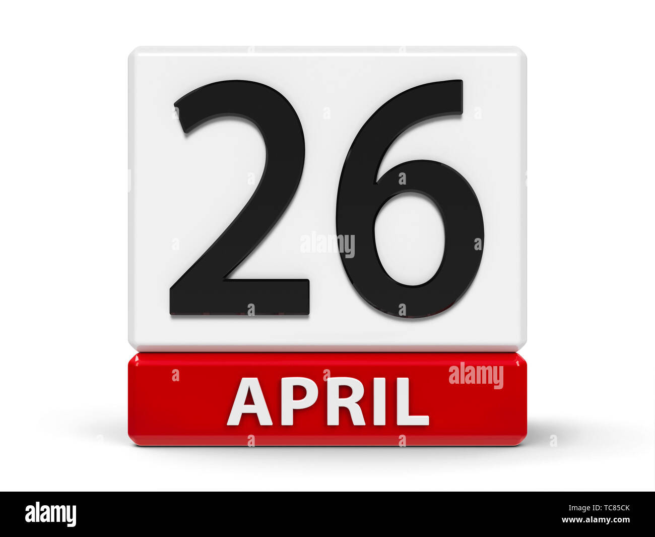 Red and white calendar icon from cubes - The Twenty Sixth of April - on a white table - World Intellectual Property Day, three-dimensional rendering,  - Stock Image