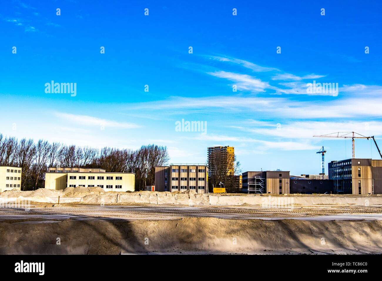 Construction site in Amsterdam North, The Netherlands, Europe. Stock Photo