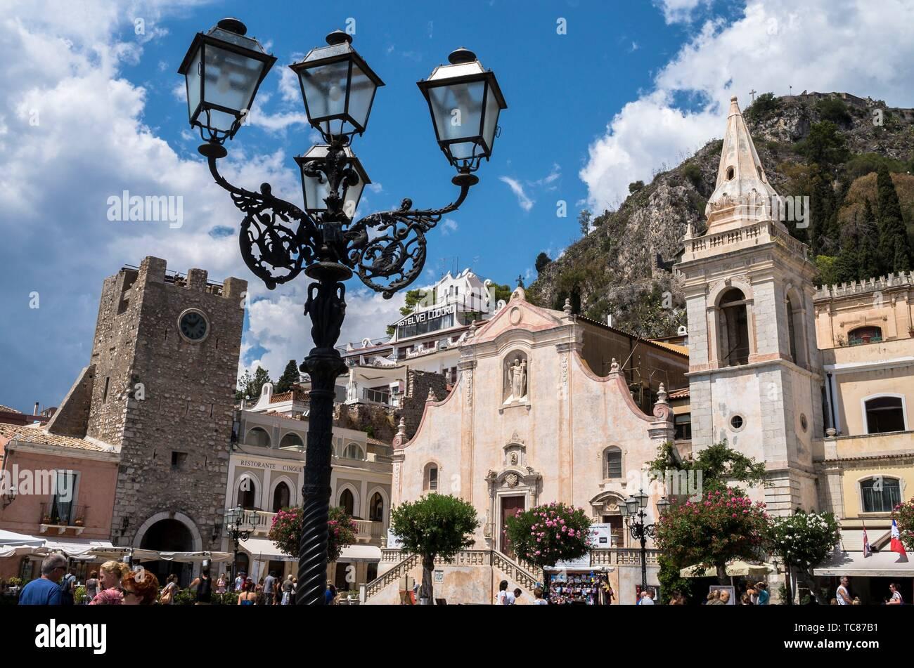 Tower Clock and San Giuseppe church, Taormina, Sicily, Italy. - Stock Image