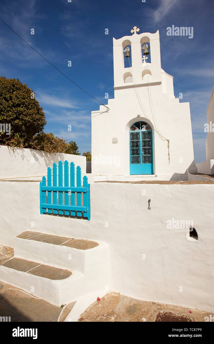 View to the small church in Ano Petali or Pano Petali village, Sifnos Island, Cyclades Islands, Greek Islands, Greece, Europe - Stock Image