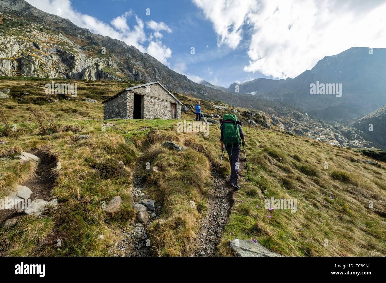 cabaña de Caoussis, valle de Valier -Riberot-, Parque Natural Regional de los Pirineos de Ariège, cordillera de los Pirineos, Francia. - Stock Image