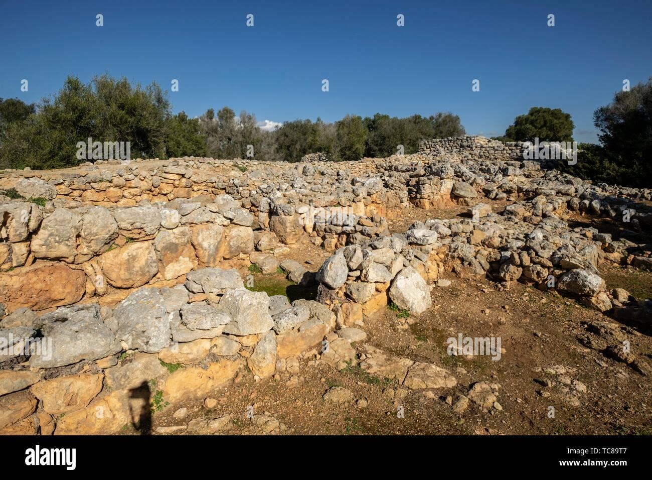 habitaciones rectangulares, conjunto prehistórico de Capocorb Vell, principios del primer milenio a. C. (Edad de Hierro), Monumento Histórico - Stock Image