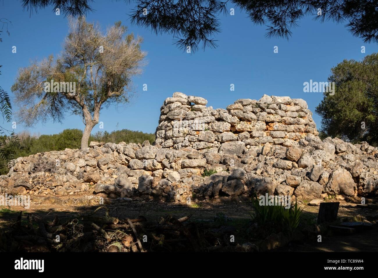 talayot circular, conjunto prehistórico de Capocorb Vell, principios del primer milenio a. C. (Edad de Hierro), Monumento Histórico Artístico, - Stock Image