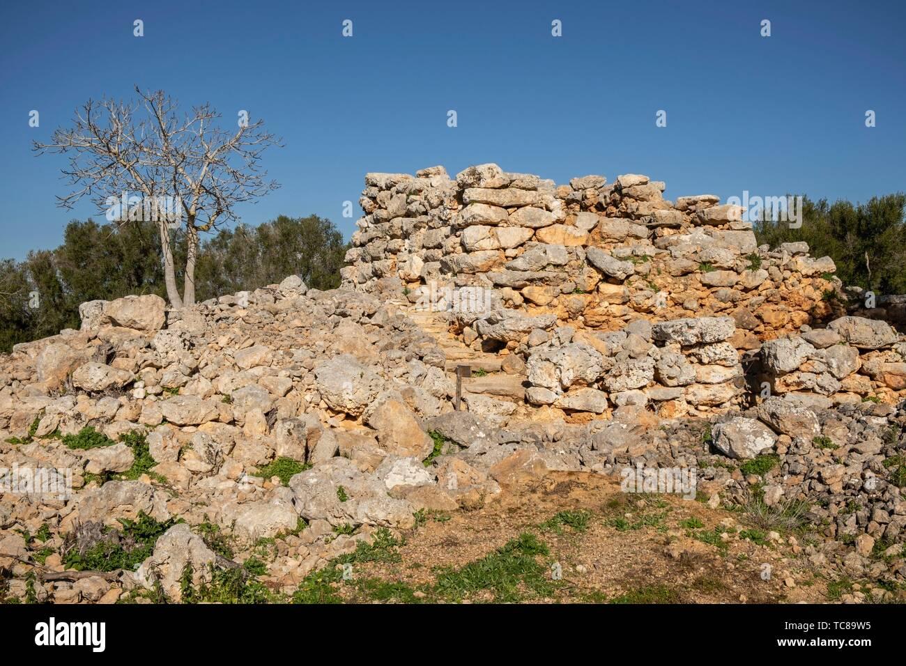 talayot cuadrado, conjunto prehistórico de Capocorb Vell, principios del primer milenio a. C. (Edad de Hierro), Monumento Histórico Artístico, - Stock Image