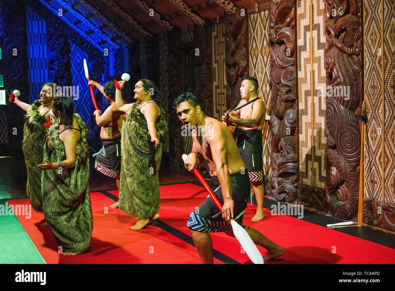 Maori cultural performance at the Meeting House, Waitangi Treaty Grounds, New Zealand. Stock Photo