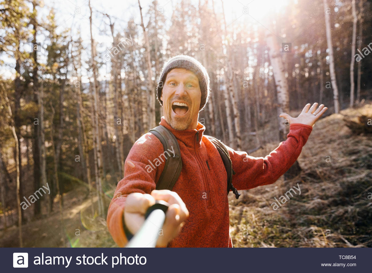 Point of view man hiking, taking selfie with selfie stick in sunny woods - Stock Image