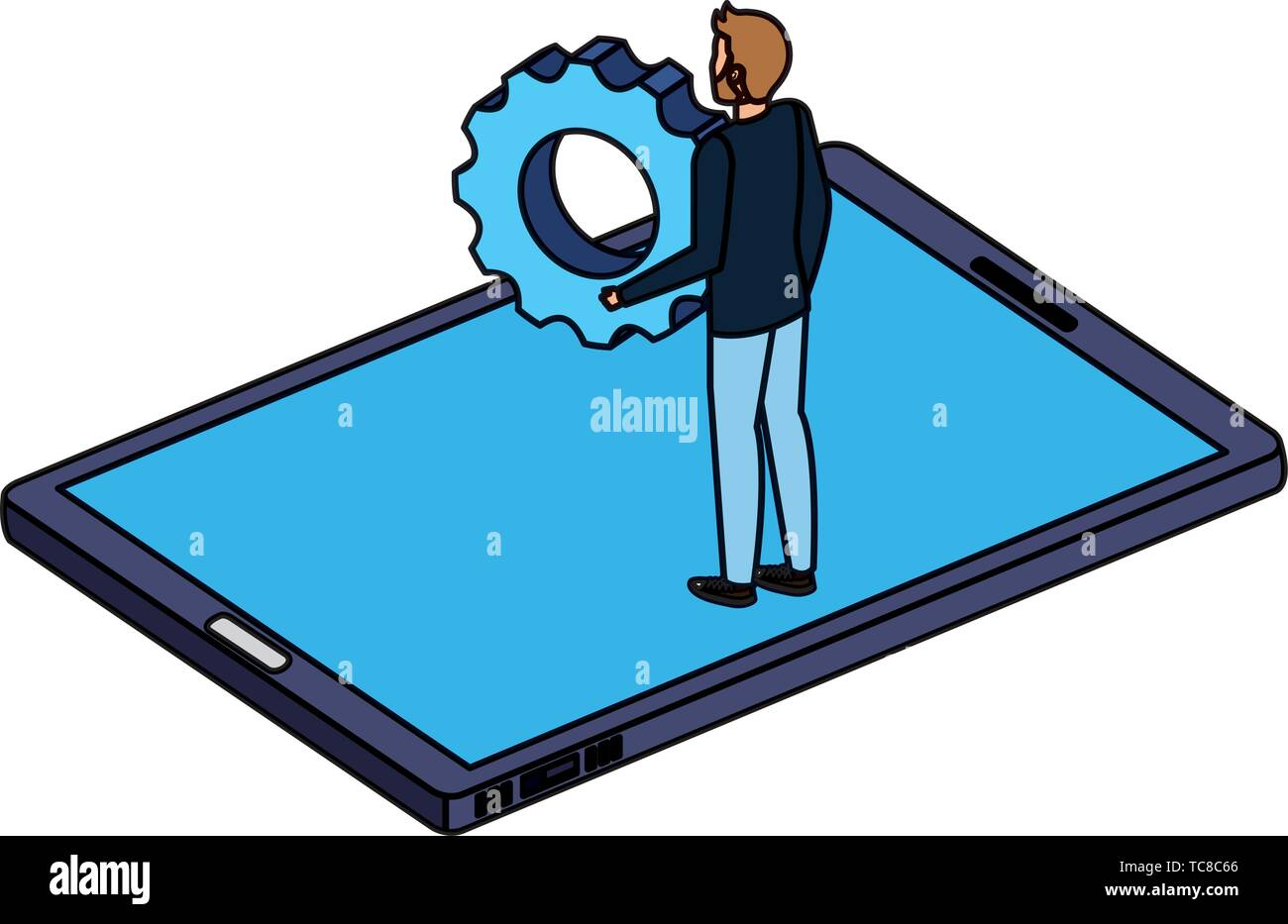young man lifting gear in smartphone - Stock Vector