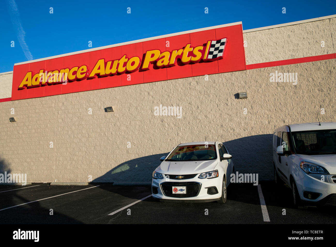 A logo sign outside of a Advance Auto Parts retail store location in Falling Waters, West Virginia on June 4, 2019. - Stock Image