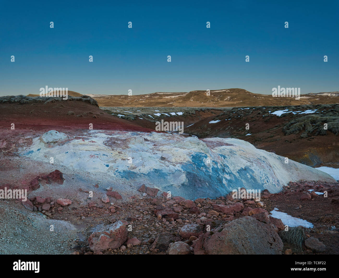 Extreme colours and shapes in the Seltun geothermal region - Stock Image