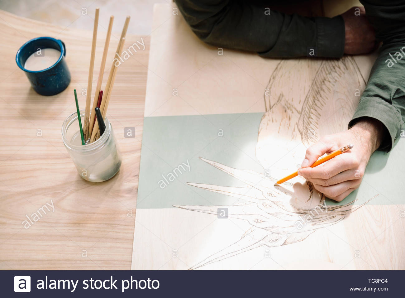 Male artist drawing heron - Stock Image