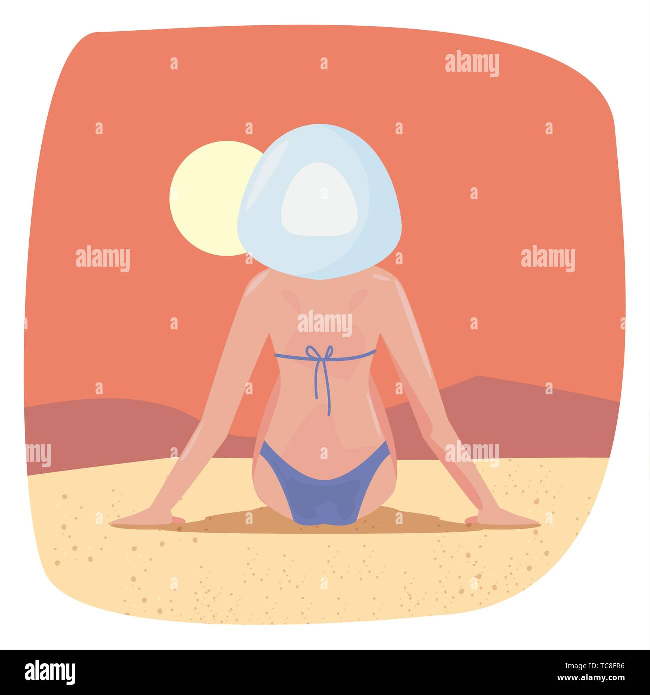 summer time holiday resting woman on beach vector illustration - Stock Vector