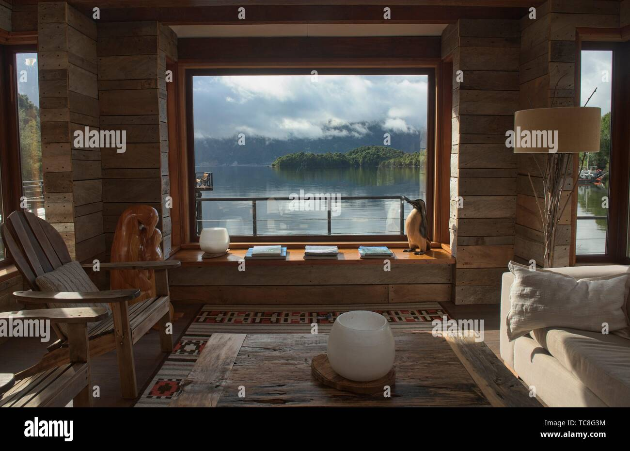 View of the fiord, Puyuhuapi Lodge, Patagonia, Aysen, Chile. - Stock Image