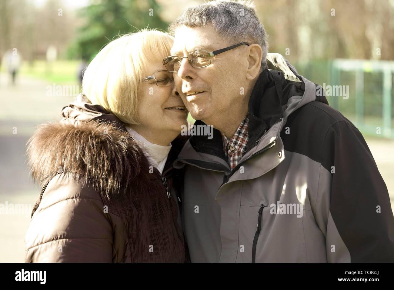 old senior couple enjoying togetherness, in Cottbus, Brandenburg, Germany. - Stock Image