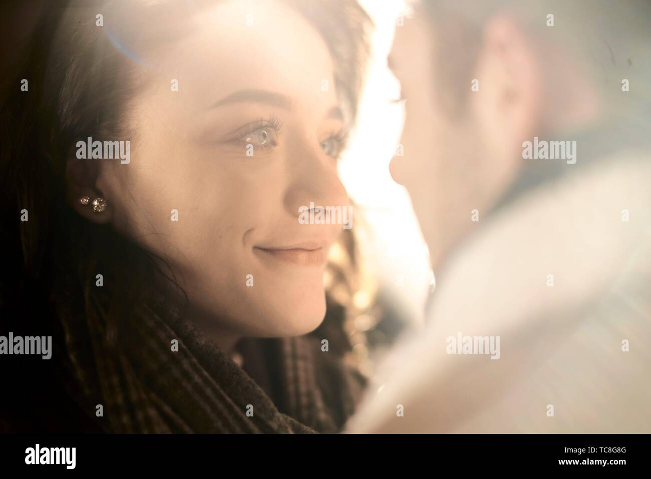 young teenage couple looking at each other, in Cottbus, Brandenburg, Germany - Stock Image