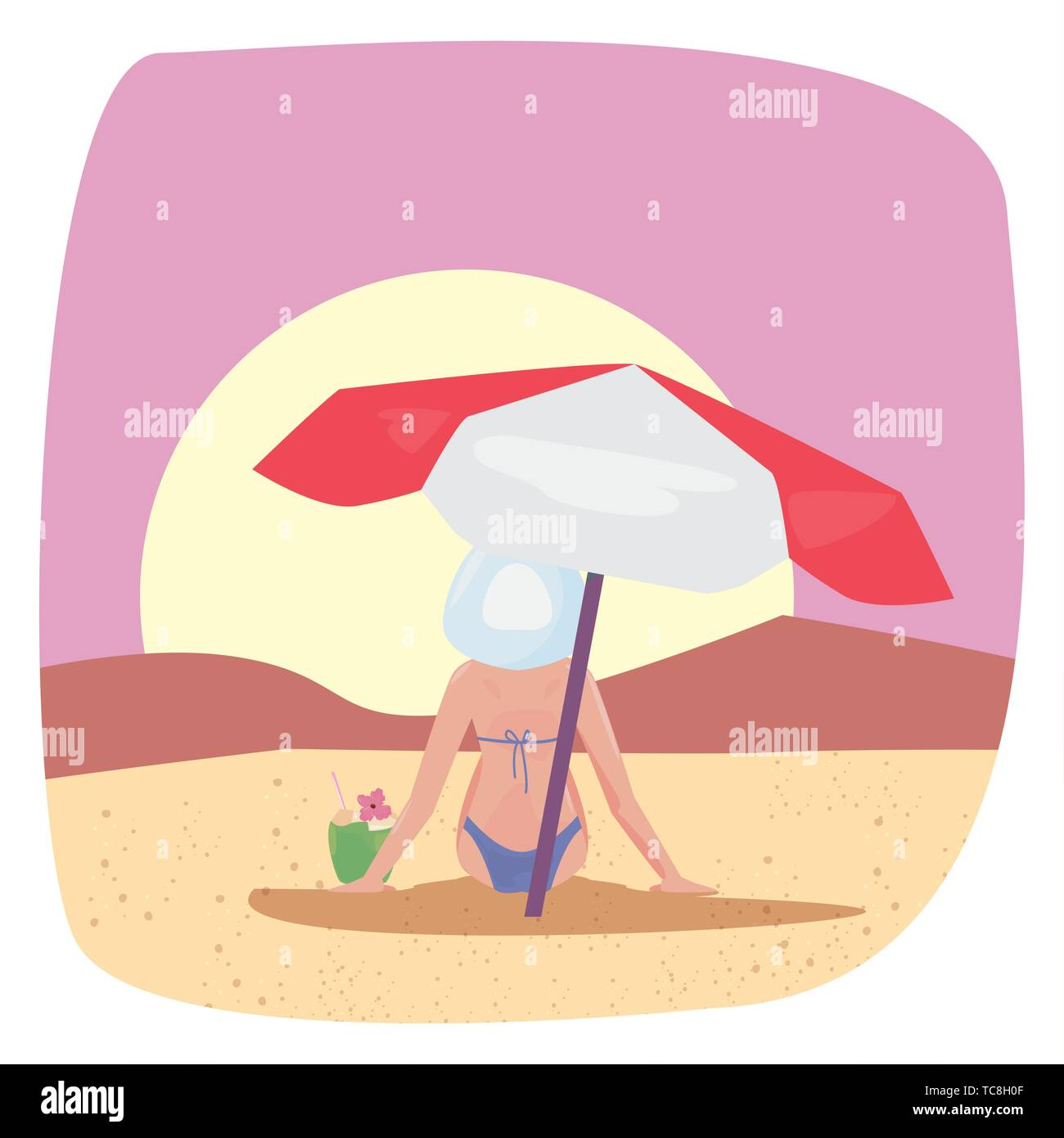 summer time holiday relaxing woman with umbrella beach vector illustration - Stock Vector