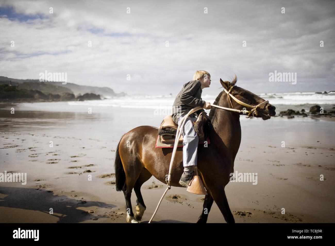 Boy riding a horse along the beach. - Stock Image
