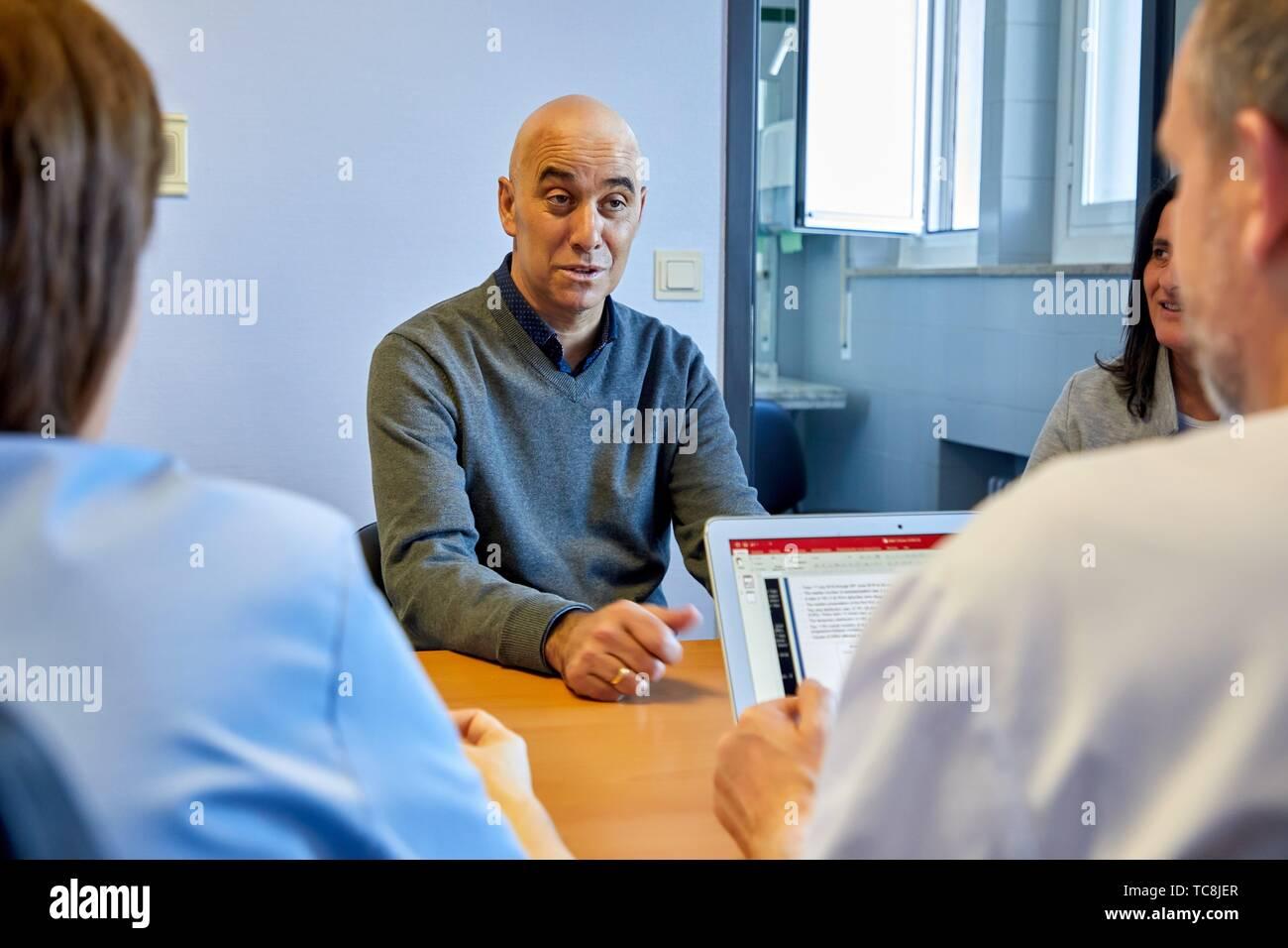 Medical consultation, Hematology, Hospital Donostia, San Sebastian, Gipuzkoa, Basque Country, Spain - Stock Image