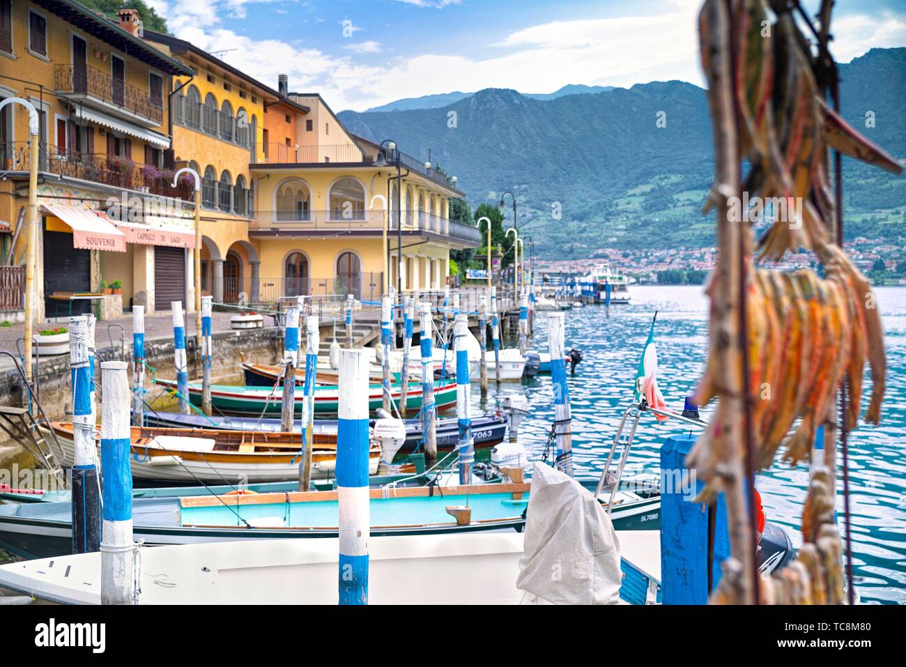 Monte Isola, Peschiera Maraglio town  with fisherman boats Stock Photo