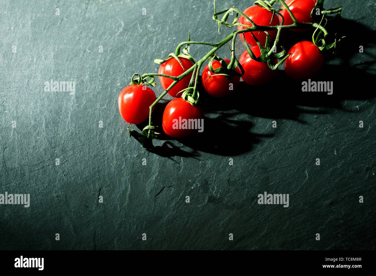 Cherry tomatoes on grey background - Stock Image