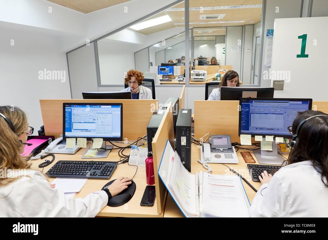 ICC, Integrated Call Center, CIAT, Centro Integrado de Atención Telefónica, Hospital Donostia, San Sebastian, Gipuzkoa, Basque Country, Spain - Stock Image