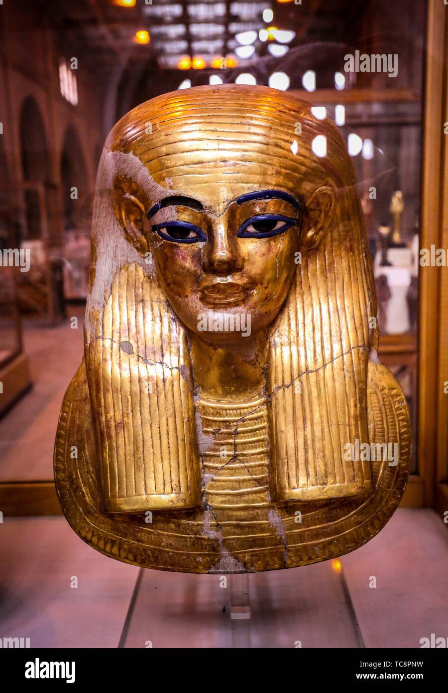 Egypt, Cairo, Egyptian Museum, from the tomb of Yuya and Thuya in Luxor : Gilded mask of Yuya, made of cloth and plaster. Stock Photo