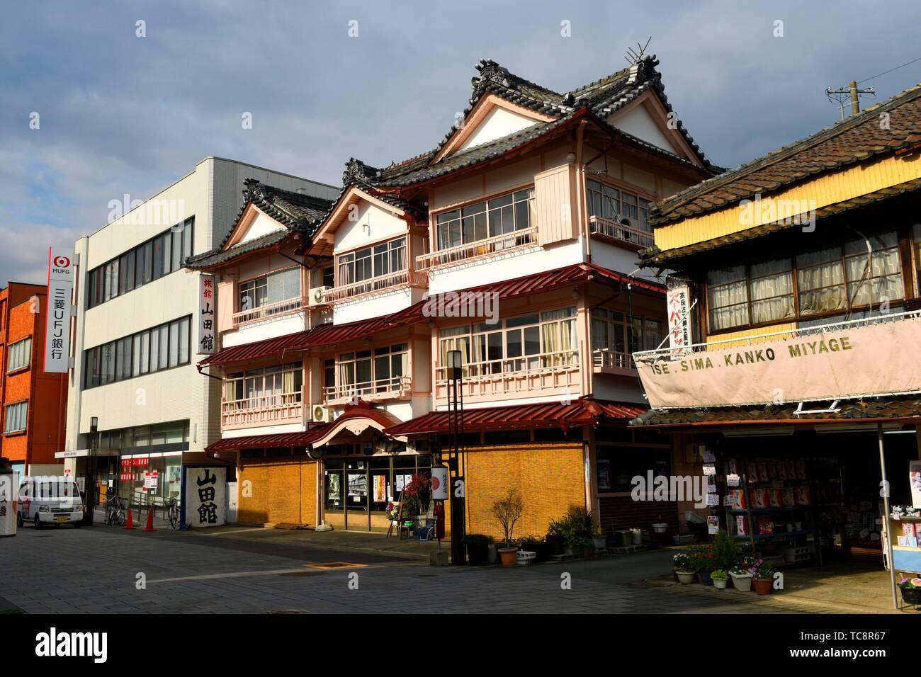 A shopping street near Ise Jingu shrine in Ise, Japan, Asia. - Stock Image