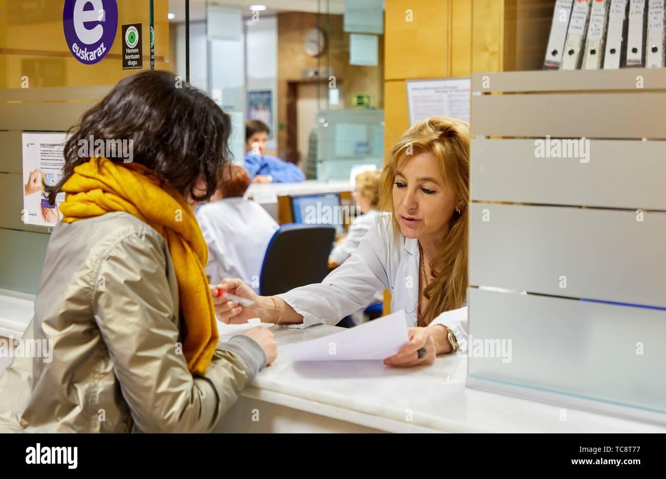 Reception medical consultations, Hospital Donostia, San Sebastian, Gipuzkoa, Basque Country, Spain - Stock Image