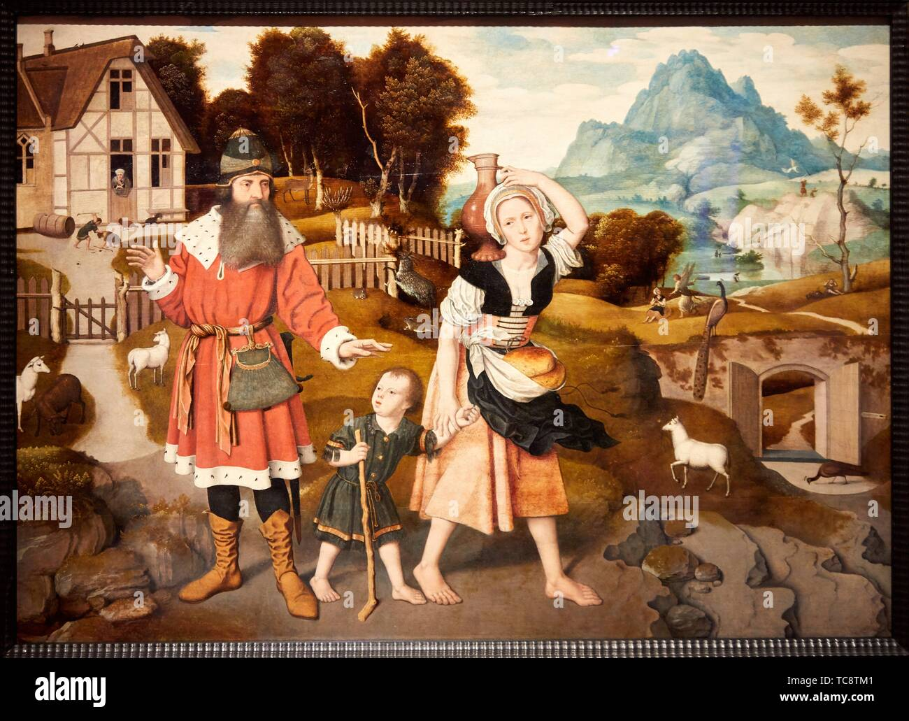 '''The Expulsion of Hagar'', 1520-1525, Jan Mostaert, Thyssen Bornemisza Museum, Madrid, Spain , Europe - Stock Image