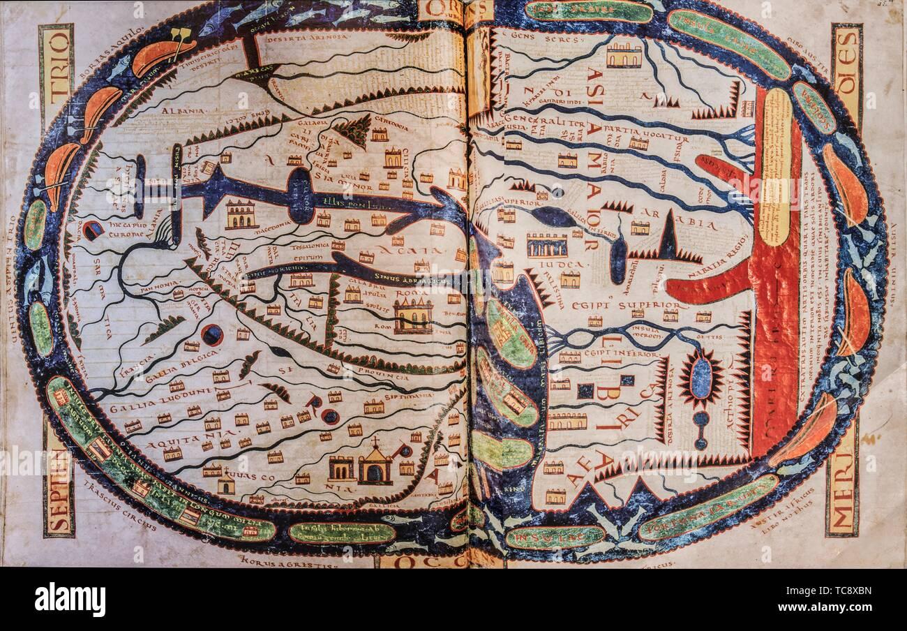 Map from the Saint-Sever Beatus. 1086. Reproduction at House-Museum of Nuñez de Balboa. Jerez de los Caballeros, Spain - Stock Image
