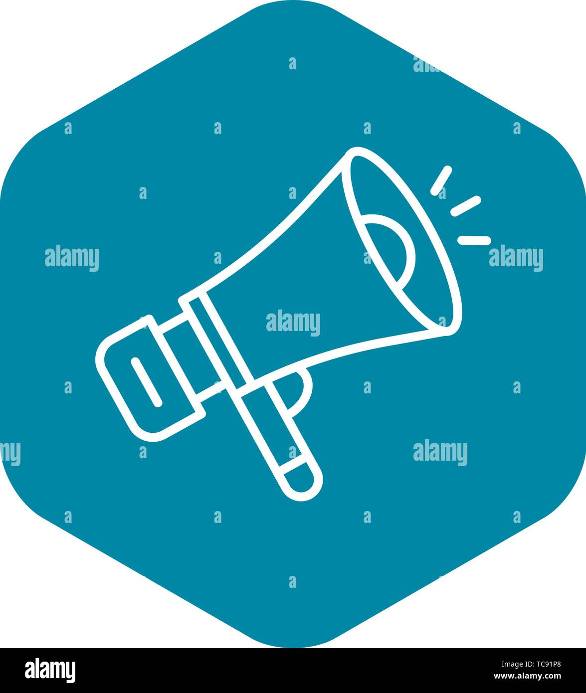 Media megaphone icon, outline style - Stock Image