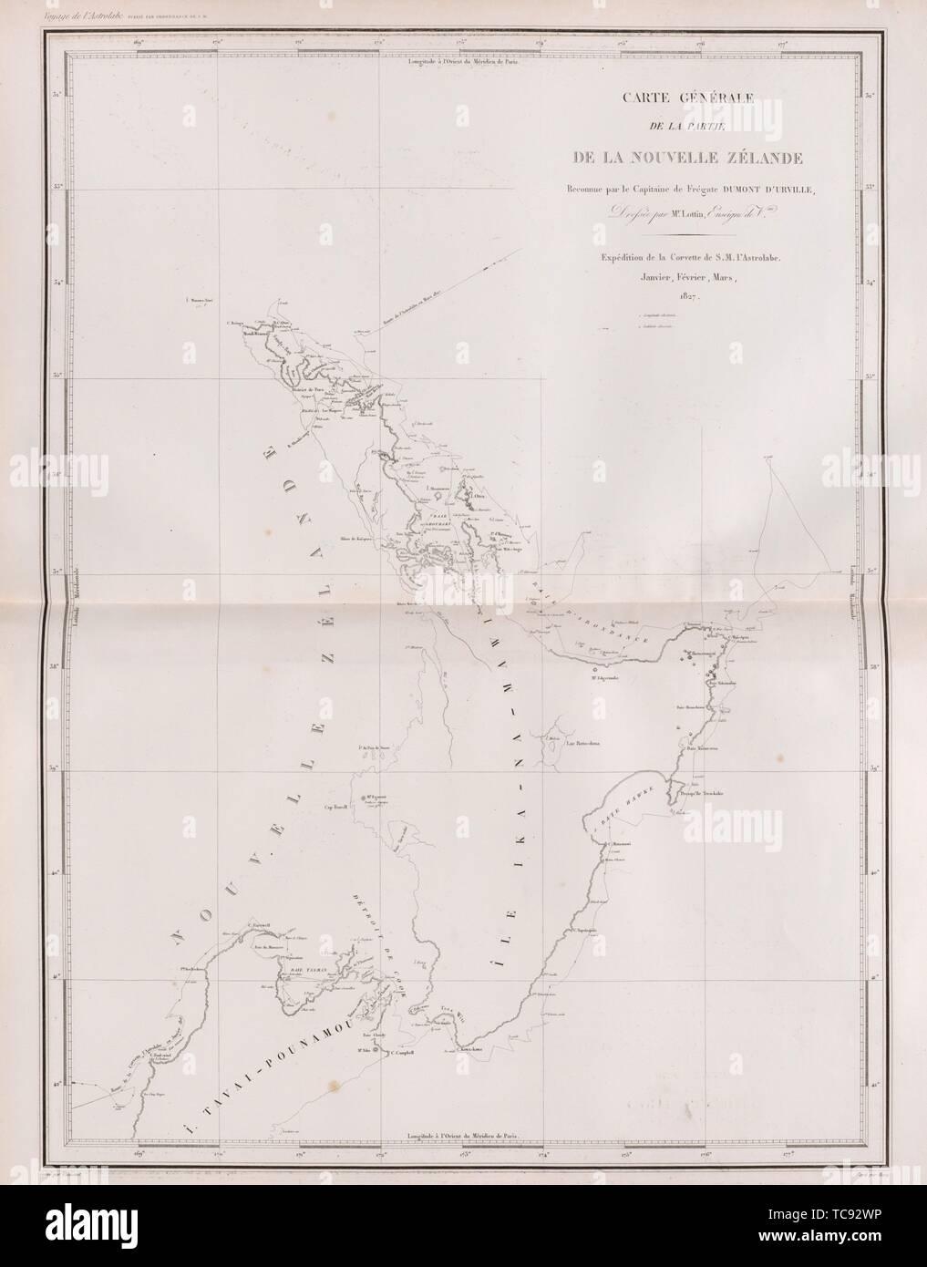 Carte génerale, de la partie, de la nouvelle zélande, reconnue par le capitaine de Frégate Dumont D'urville, Drefsée per Mr. Lottin, enseigne de vau, - Stock Image