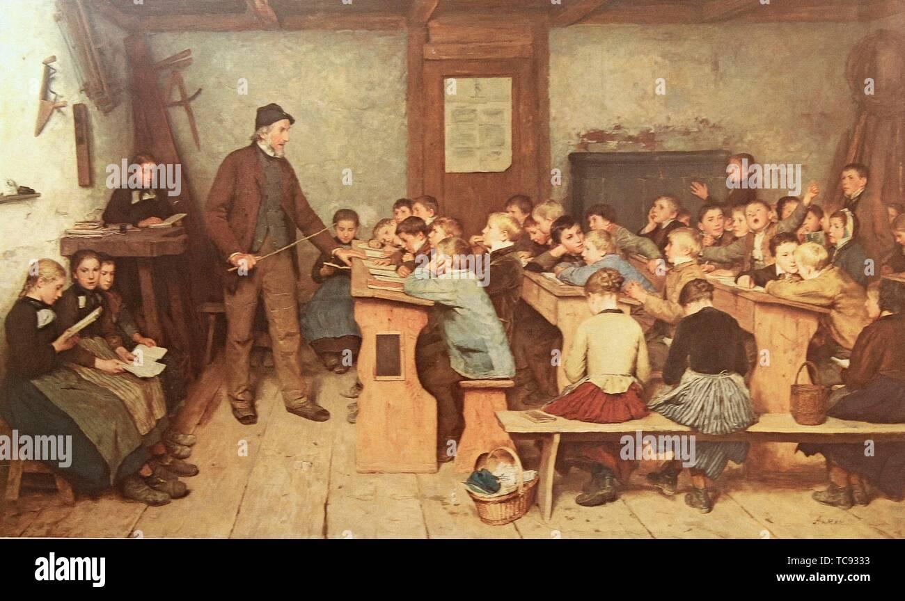 La scuola villaggio di 1848 Albert Anker 1896 svizzeri pittore H a3 0626 incorniciato