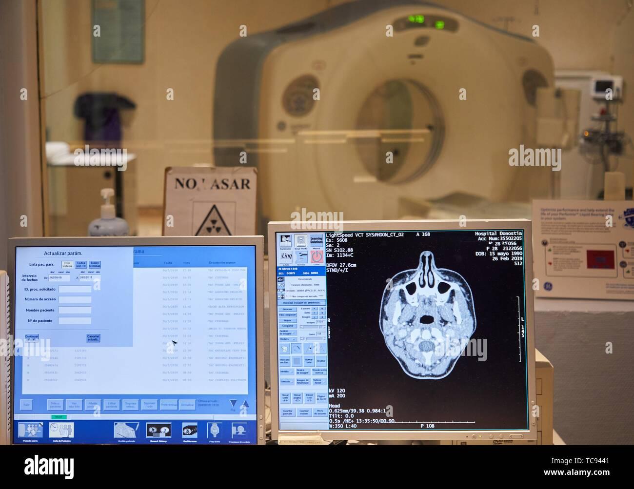 CT Scan, Radiology, Hospital Donostia, San Sebastian, Gipuzkoa, Basque Country, Spain - Stock Image