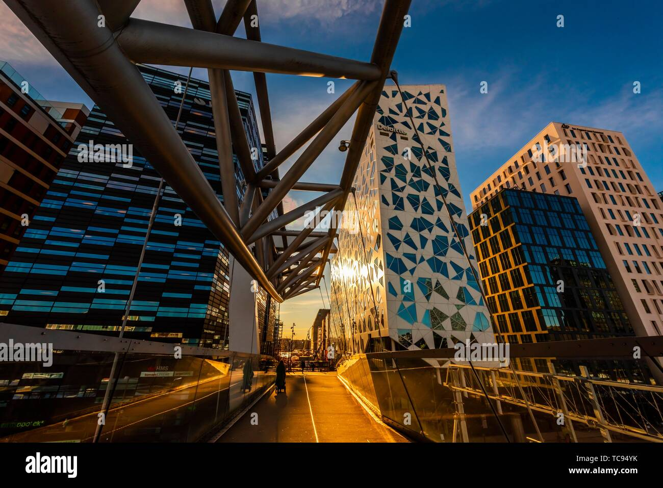 The Acrobat (Akrobaten) pedestrian bridge (designed by L2 Architects), and The Barcode Project is a section of the Bjørvika portion of the Fjord City - Stock Image